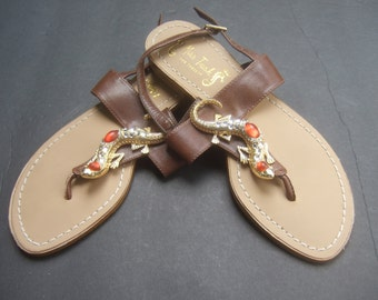 Jeweled Salamander Brown Leather Sandals US Size 6