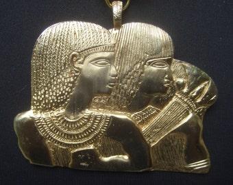 KENNETH LANE Egyptian Pharaoh Gilt Metal Pendant Necklace