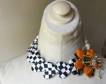 Halloween QuEeN Flower Brooch Checkered Freshwater Pearl Statement Necklace Jewelry by ZILLAS QUEEN