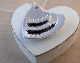 Personalised Silver Hearts Necklace - Sterling Silver