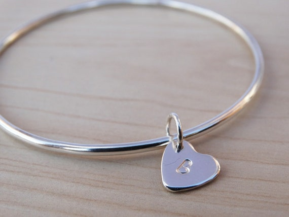 Silver Heart Bangle With Initials, Sterling Silver