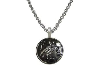 Circular Owl of Athena Pendant Necklace