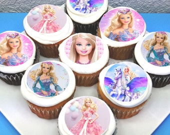 "Barbie Edible Cupcake Toppers - 2"" - PRE-CUT"