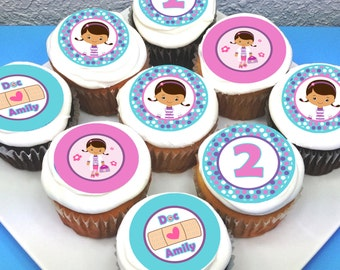 "Doc McStuffins Personalised Edible Cupcake Toppers - 2"" - PRE-CUT"