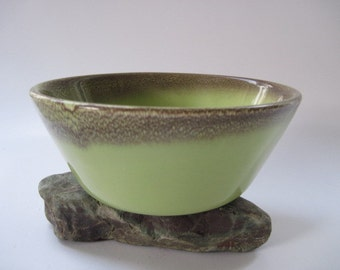 Vintage Bauer Pottery Mission Moderne Chartreuse and Brown Two Tone Bowl
