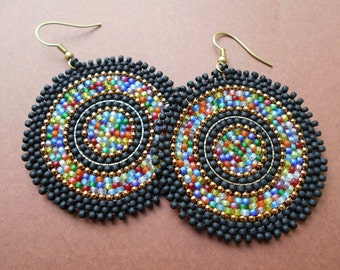 Frosted black:Circular brick stitch earrings,seed bead earrings,solid brass