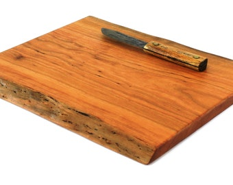 "Natural Edge Serving Board Handmade from Wild Cherry Hardwood - Ready to Ship - 14-3/4""x12-1/2""x7/8"""