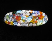 SALE Millefiore Art Glass Vintage Barrette.  Multicolor is putting it Mildly.  It's like a Garden Party for your Hair!
