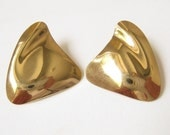 SALE 14 K Gold Filled Abstract Modernist Contoured Vintage Earrings.  Very Rich Bright Gold Surface with Lots of Contours and Reflections.