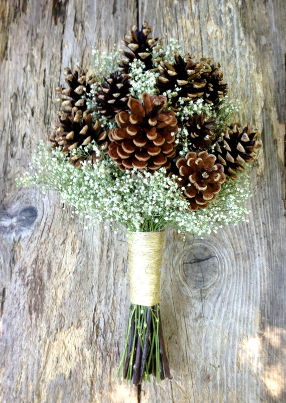 Winter wedding pine cone and dried baby s breath bouquet