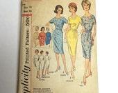 1960's Retro Dress Pattern Original Vintage Simplicity Size 38 inch bust FF