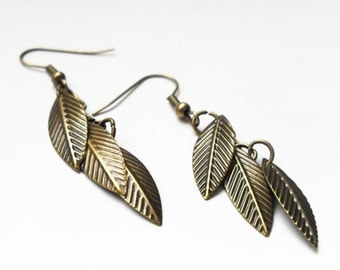 Leaf and Feather Dangle Earrings in Antique Bronze, Boho Chic, Bohemian Earrings, Gift for Her, Gift Under 20, Metal Stamped Earrings,