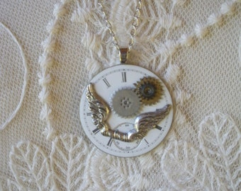 Vintage Watch Face Necklace--Wings and Gears