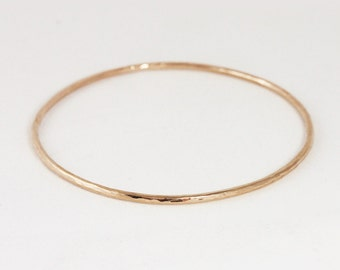 2mm 14k Gold Hammered Bangle Bracelet - Simple Gold Bracelet - Solid 14k Rose Yellow White Gold