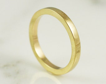2.5mm x 2mm 14k / 18k / 22k / 24k Gold Rectangle Wedding Band - Solid Yellow Gold