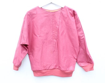 80s REAL PINK LEATHER Sweatshirt / Long Sleeve Sweater Minimal Avant Garde Top