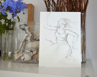 Original drawings -  Flowing serie -n.4 - Pencil on acid free paper - movement art drawing dance original flowing dancer female woman ink