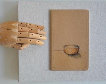 Hand painted on notebook medium size/ Original pot drawing - Ink wash/ pen pitt, ink