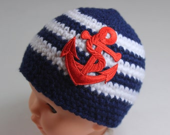 Baby Nautical Striped Hat Cap with Anchor - Knit / Crochet - Newborn Photo Prop, Baby Gift