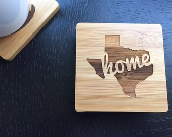 "Personalized Coaster Set 6 Custom Engraved Bamboo Coasters ""Pick your home state""  Unique Wedding Gift, Housewarming Gift"