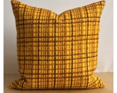 "Cushion Cover Vintage Retro 70s Yellow Fabric 16"" x 16"""