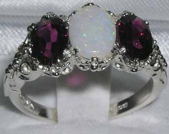 14K White Gold Natural Colorful Opal & Rhodolite Garnet English Antique Style Carved Ring, Prong Setting 3 Stone Trilogy Ring