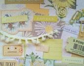 Yellow junk journal kit. Yellow collage kit. Spring junk journal ephemera. Botanical ephemera.