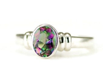 Mystic Topaz  Ring - Sterling Zircon Ring - Ready to Ship Size 7 - Sample Sale