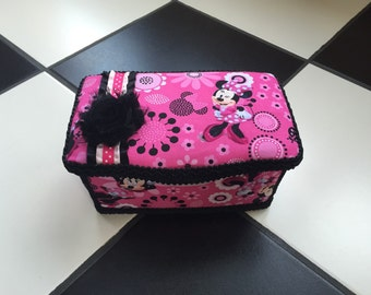 Boutique Diaper Wipes Tub Minnie Mouse Inspired Black White Fuschia Hot Pink Girls