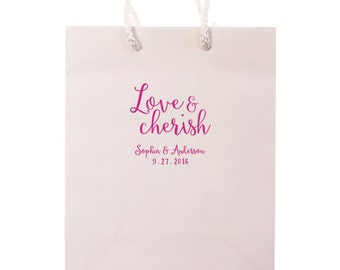 Love & Cherish Wedding Welcome Bags - Hotel Guest Bag Personalized Party Favors Foil Stamped Paper Gift Rehearsal Custom