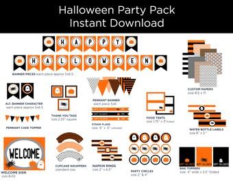 Halloween Printable Decor - Halloween Decorations - Halloween Party Pack - Halloween Party Decor - Orange and Black - Halloween Printables