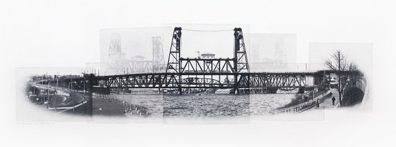 Portland Fine Art - Original Art - Photographic Etching - Art Print - Photography - Oregon - Photogravure - Photo Collage - Steel Bridge