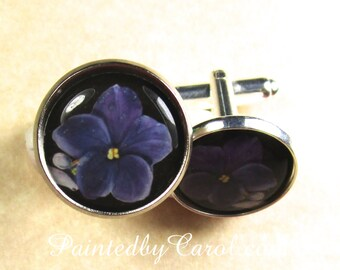 Violet Cufflinks, Purple Violet Mens Gifts, February Birthday Cufflinks, Violet Wedding Jewelry, Violet Bridal Jewelry, Fathers Day Gifts