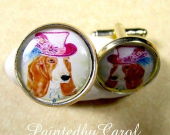 Victorian Basset Hound Cufflinks - Steampunk Dog Cuff links, Mens Gifts, Mens Accessories