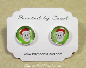 Santa Claus Earrings, Christmas Earrings, Christmas Jewelry, Santa Clause Jewelry, Kids Earrings, Kids Jewelry, Earrings with Santa Claus