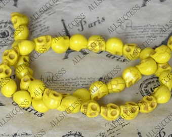 8x10mm Single carved Yellow turquoise skull stone beads,turquoise gemstone beads loose strands