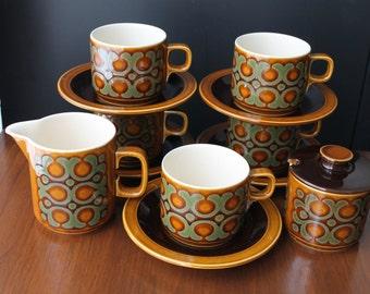 Vintage Hornsea Teacups Saucers English Tea Set Vintage Bronte Pattern Retro Tea Party Retro Kitchen Serving Mid Century Modern Dinnerware