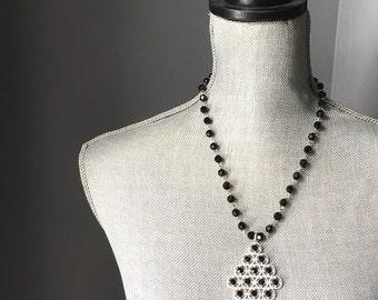 Black Rhinestone Diamond Pendant Necklace  //byZULLIdesigns//ZULLI/Womens Jewelry / Gifts for Women /  Dark Jewelry/ Edwardian Necklace