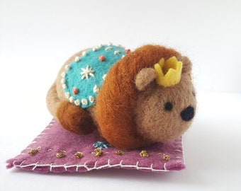 Regal Beasts Collection - Needle Felted Lion with Crown, Embroidered Cape and Rug