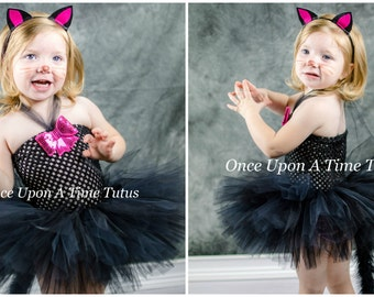 Black Kitty Cat Tutu Dress - Birthday Outfit Halloween Costume Baby Girl 3 6 9 12 18 24 Months 3T 4T 5  Fluffy Tail Bow - Ready To Ship