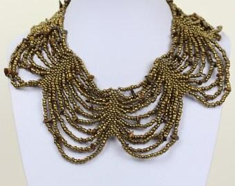 Tiger Eye Choker with Masai Beads. African Choker Collar Necklace. Handmade Cleopatra Bib Necklace Gold Brown Bronze Colour DB17 MapenziGems