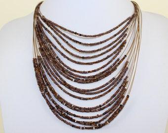 Brown Necklace with Masai Beads. Funky, Bright, Playful Choker. Tiger Eye Brown Choker. Maasai Beads. Handmade. MapenziGems