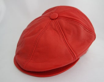 Leather newsboy cap Handmade genuine high quality  leather Newsboy cap / hat  custom made