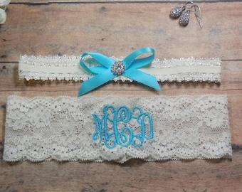 Monogrammed Garter, Garter, Aqua Garter, Blue Garter, Something Blue, Personalized Garter, Custom Garter, Brides Garter, Bride, Wedding