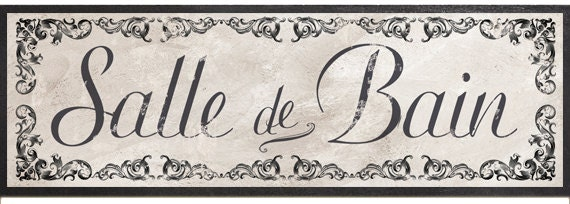 Salle de bain sign french victorian bath french wall sign for Salle de bain door sign
