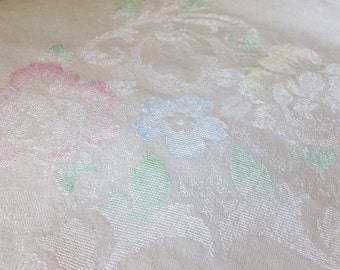 Vintage Tablecloth Floral Damask Square Pale Blue White Chic