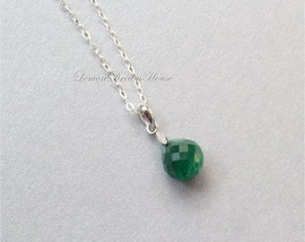 May Birthstone Necklace, Emerald Faceted Onion Briolettes, Sterling Silver Chain. Dainty. Simple. Everyday Jewelry. N221.