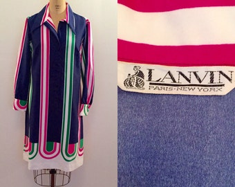 Beautiful bright blue stripe silk Lanvin 70s shirtdress