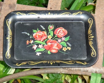 Black Tip Tray, Tole Paint Tin Tray, Floral Tip Tray, Small Dresser Tray, Coin Tray, Catchall, Office, Paperclip Tray, Black Tray, Toleware