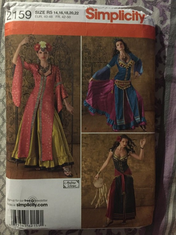 Simplicity 2159 Sewing Pattern Misses Bollywood, Belly Dancer, Gypsy Costume Size 14-22
